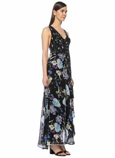 3.1 Phillip Lim V Yaka Çiçekli Volanlı Uzun Elbise Siyah